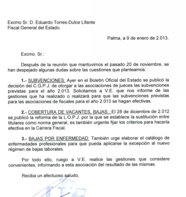 La UPF envia carta al Fiscal General del Estado.